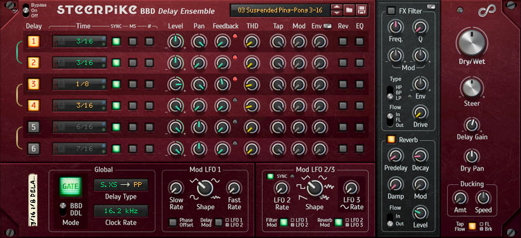 Steerpike BBD Delay Ensemble (Front View)